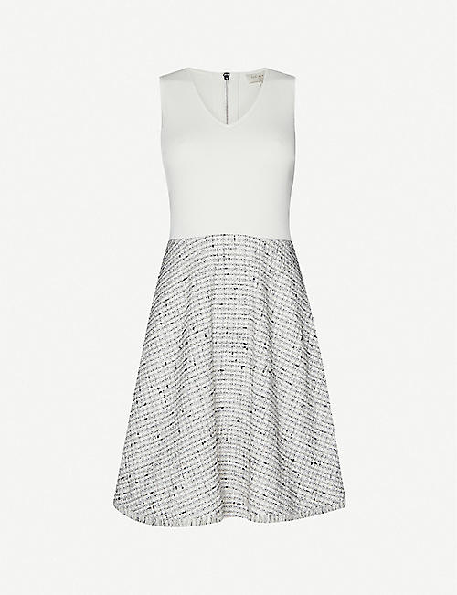 TED BAKER: Sleeveless knitted and tweed mini dress