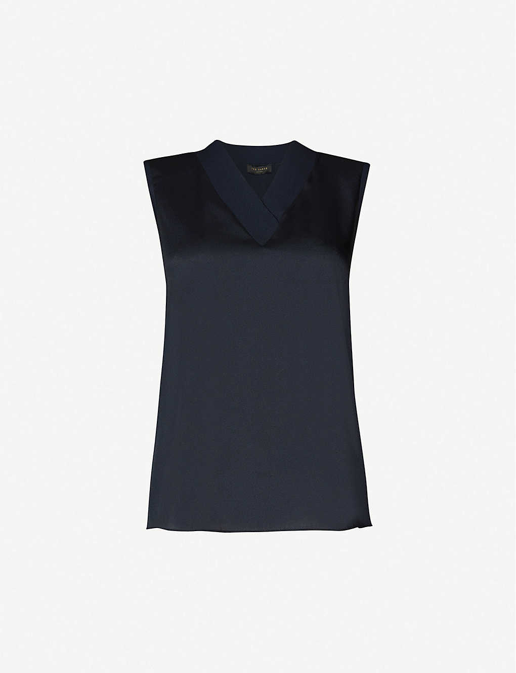 TED BAKER: Sleeveless satin-trim knitted top