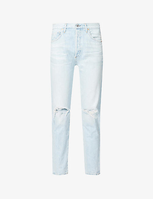 CITIZENS OF HUMANITY: Liya classic-fit ripped high-rise organic-cotton jeans