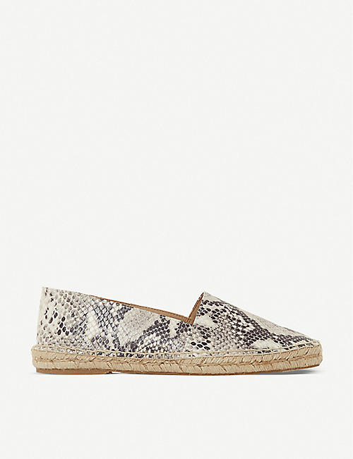 BERTIE: Greet snakeskin-print leather espadrilles