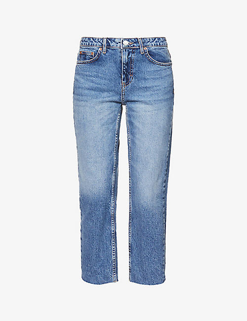 TOPSHOP: Straight-leg mid-rise jeans