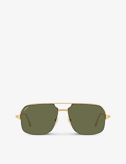 CARTIER: CT0230S metal and acetate square-frame sunglasses