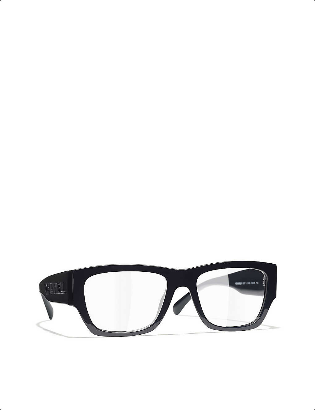 CHANEL: CH3387 branded-arms rectangle-frame glasses
