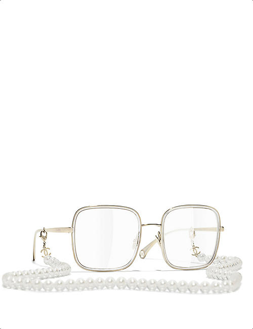CHANEL CH2195 pearl chain square-frame glasses