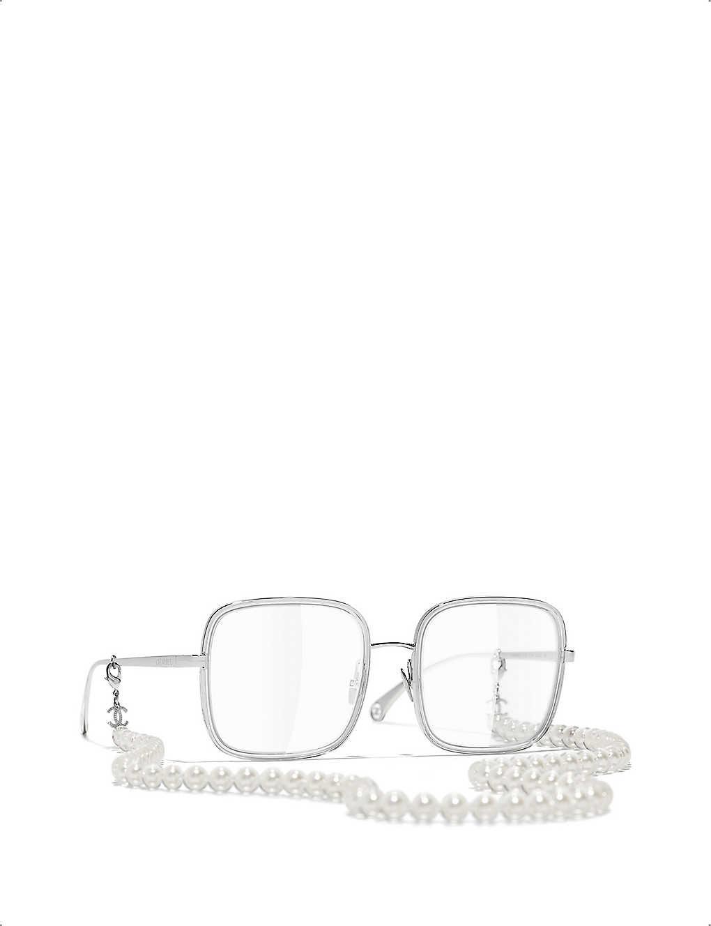CHANEL: CH2195 pearl chain square-frame glasses