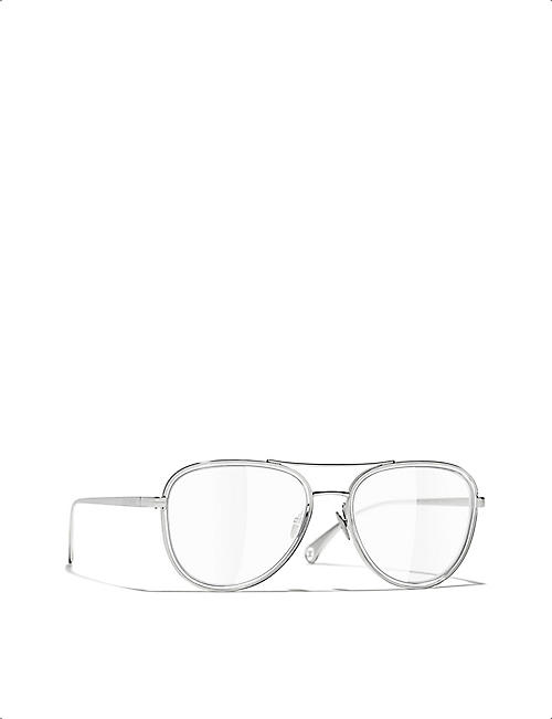 CHANEL CH2196 pilot-framed metal eyeglasses