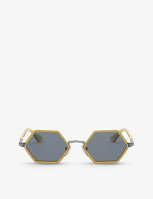PERSOL: PO2472S hexagonal-frame metal sunglasses