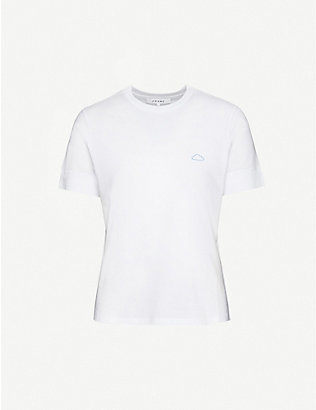 FRAME: Easy 70s cloud-embroidered organic cotton-jersey T-shirt