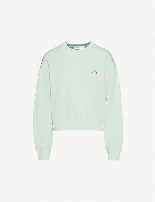 FRAME Easy cloud-embroidered organic cotton-jersey sweatshirt