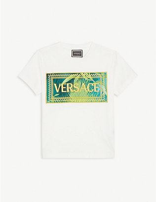 VERSACE: Jungle-logo cotton T-shirt 4-14 years