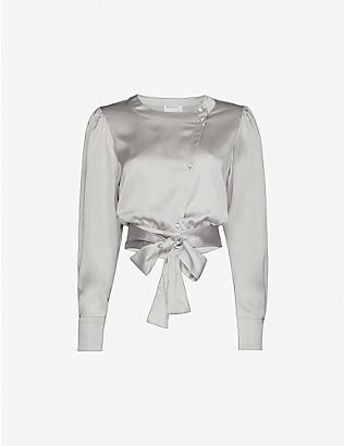DESIGNERS REMIX: Kacy wrap-over satin shirt