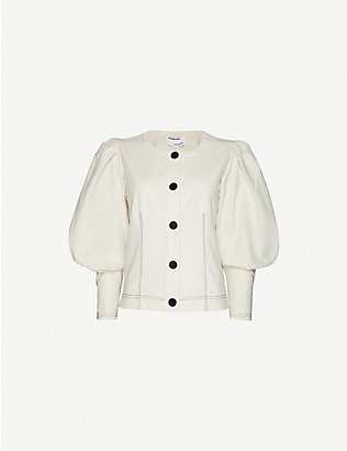 DESIGNERS REMIX: Abby mandarin-collar linen and cotton-blend shirt