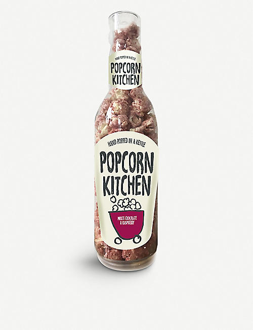 POPCORN KITCHEN: White Chocolate and Raspberry popcorn gift bottle 80g