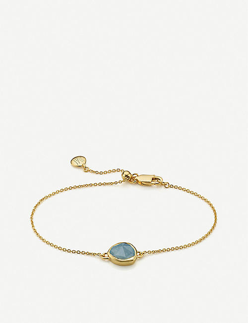 MONICA VINADER: Siren 18ct gold-plated sterling silver and aquamarine fine bracelet