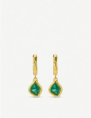 MONICA VINADER: Siren Mini Nugget 18ct gold vermeil and green quartz hoop earrings