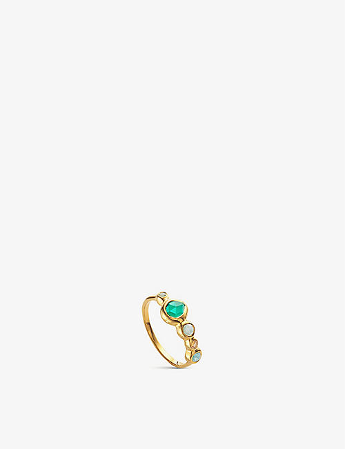 MONICA VINADER: Siren Tonal 18ct gold-plated sterling silver, rock crystal, chrysoprase, green onyx and amazonite ring