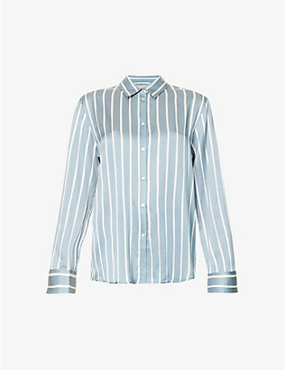 ASCENO: London striped silk-satin pyjama top
