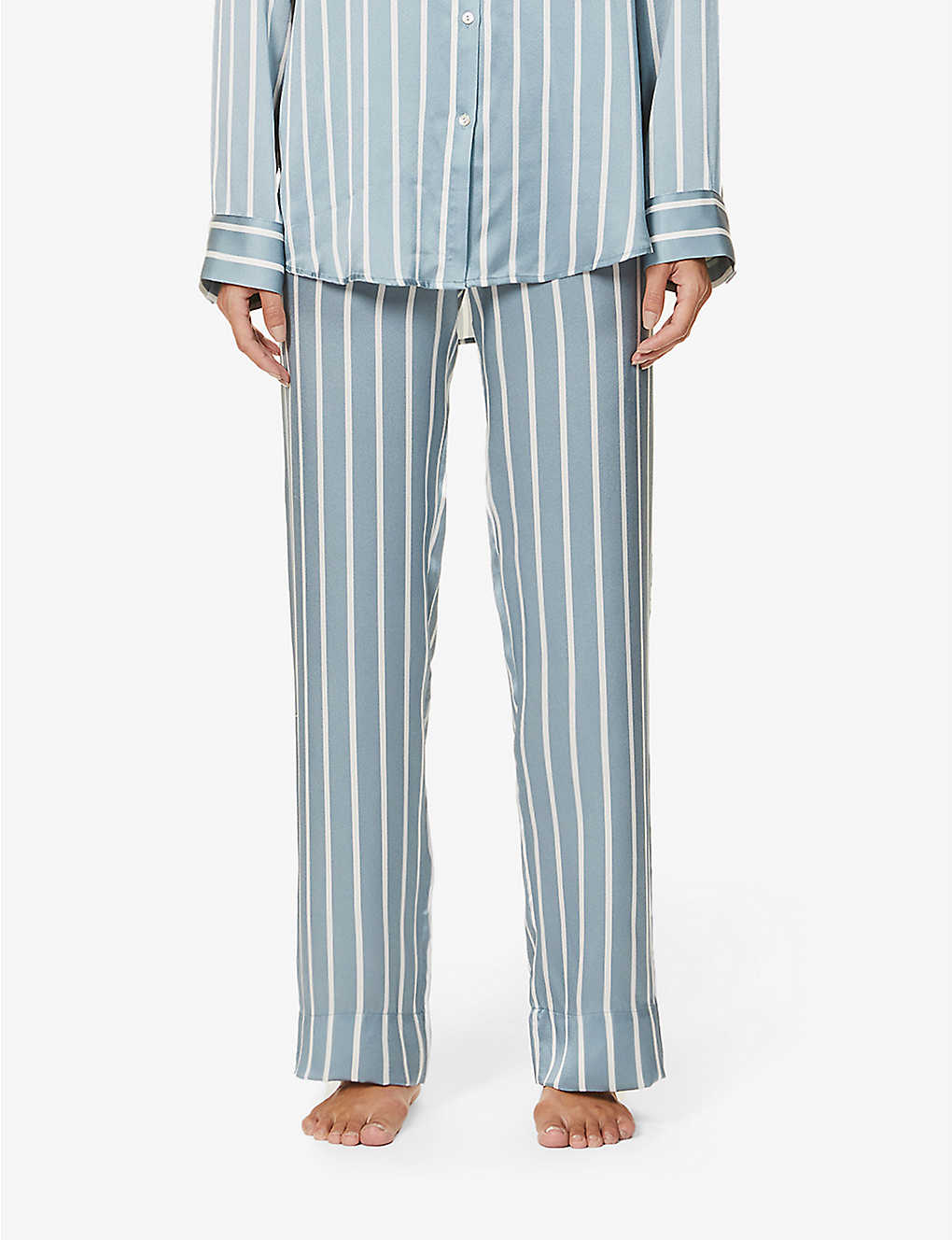 ASCENO: London striped silk-satin pyjama bottoms