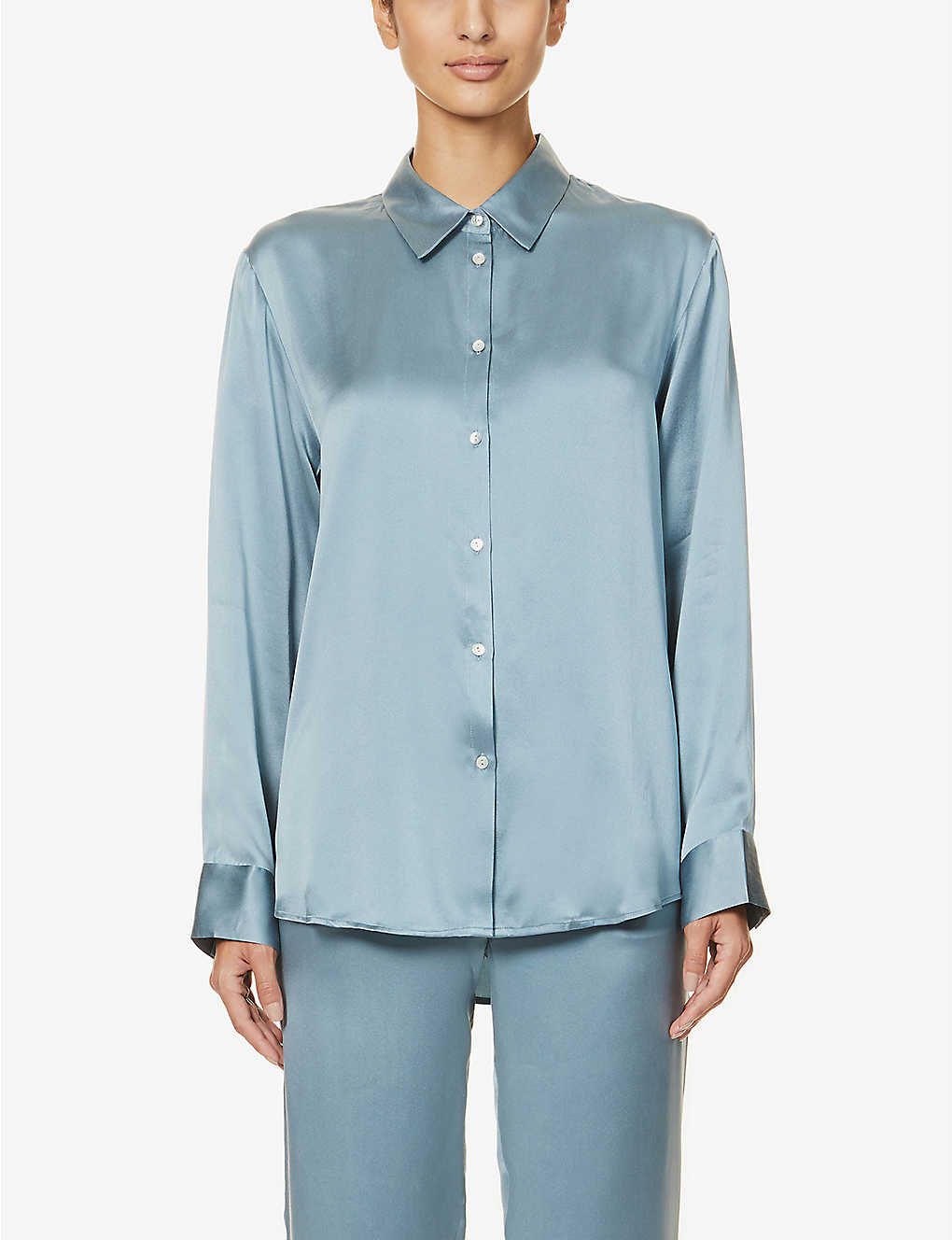 ASCENO: London silk-satin pyjama top