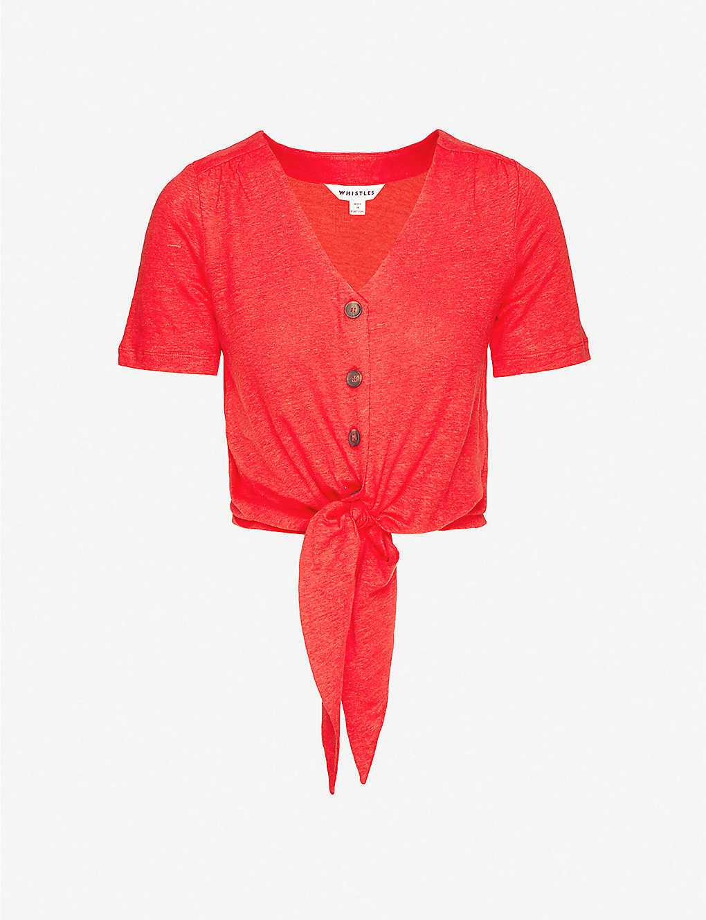 WHISTLES: Buttoned tie-front linen top