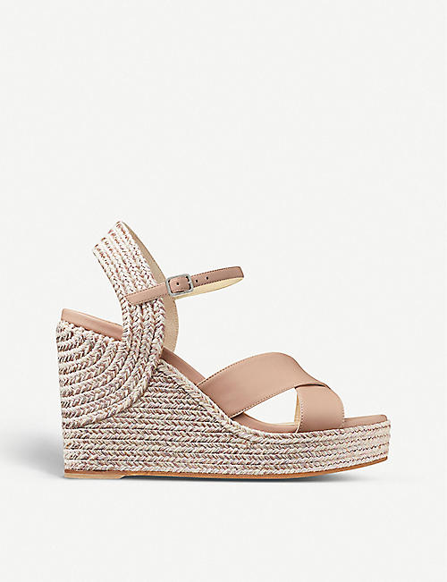 JIMMY CHOO: Dellena 100 leather wedge sandals
