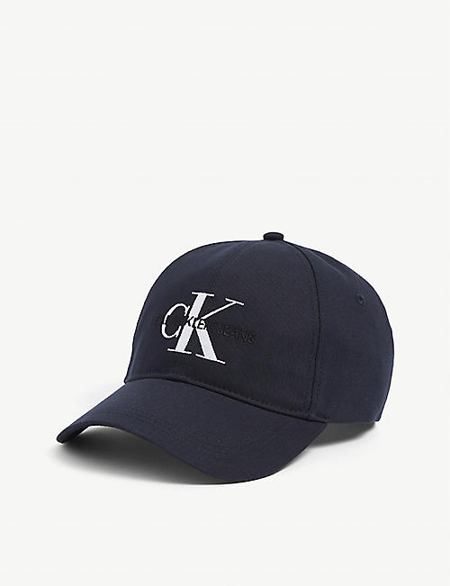 CALVIN KLEIN: Monogram logo-embroidered cotton baseball cap