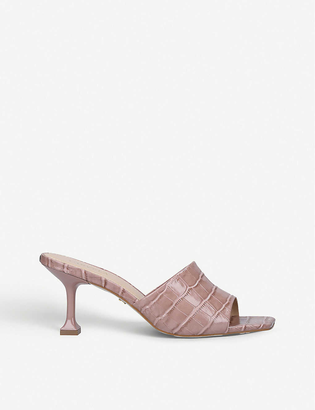 CARVELA: Grow square-toe croc-embossed leather heeled mules