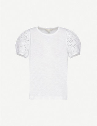 WHISTLES: Broderie Anglaise-embellished cotton T-shirt