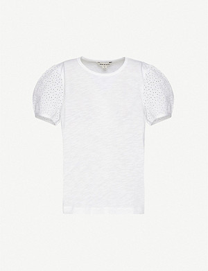 WHISTLES Broderie Anglaise-embellished cotton T-shirt