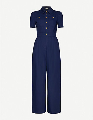 WHISTLES: Emma cotton-blend jumpsuit
