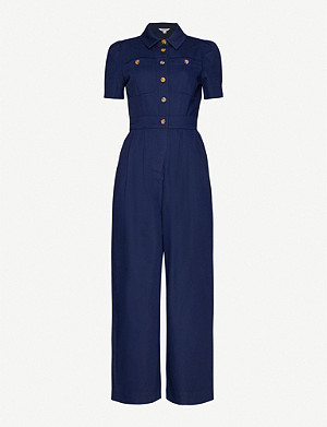 WHISTLES Emma cotton-blend jumpsuit