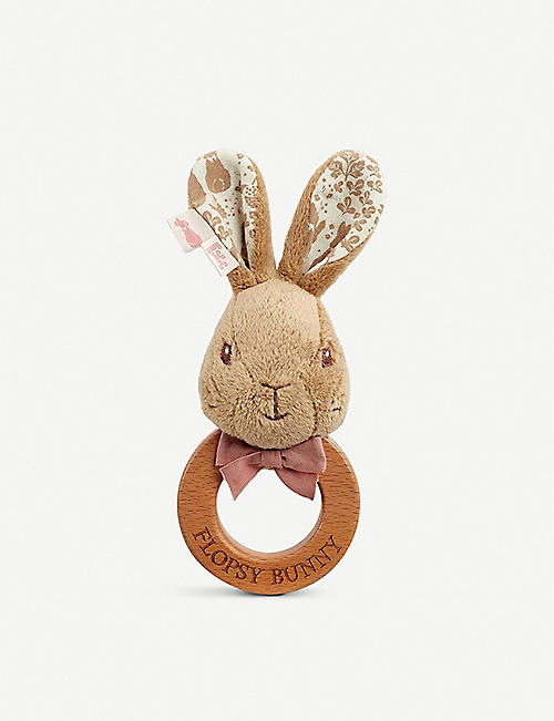 PETER RABBIT: Flopsy soft plush and wooden ring rattle 15cm