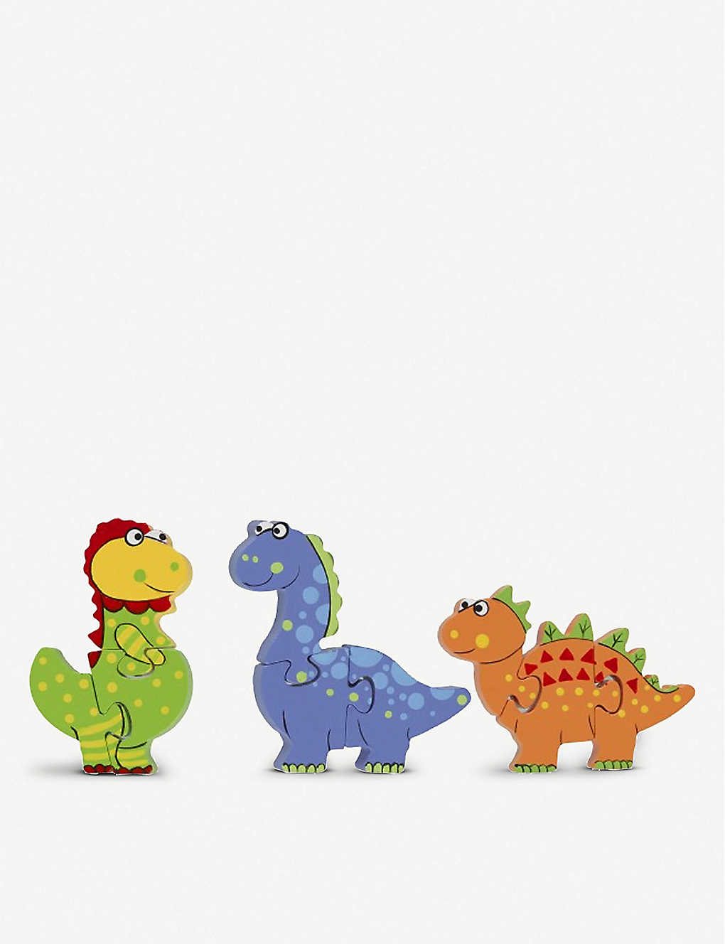 ORANGE TREE TOYS: Dinosaur Puzzle wooden toy dinosaur puzzle set of three 17cm
