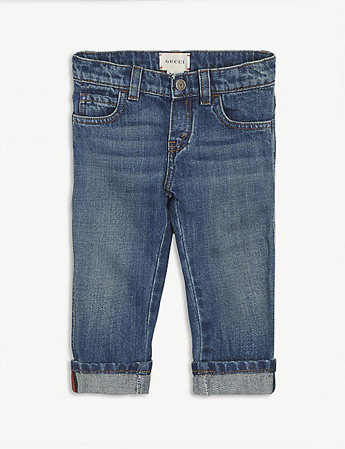 GUCCI: Web stripe cotton jeans 6-24 months