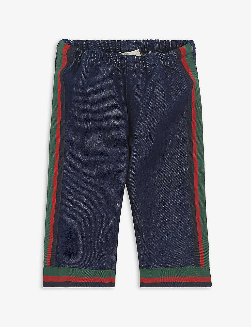 GUCCI: Web stripe cotton jeans 12-24 months