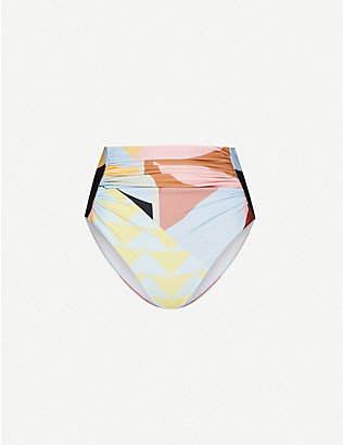 SELF-PORTRAIT: Abstract-geometric pattern high-rise bikini bottoms