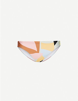 SELF-PORTRAIT: Abstract-geometric pattern mid-rise bikini bottoms