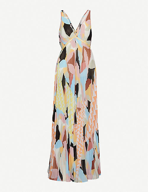 SELF-PORTRAIT: Geometric-print woven maxi dress