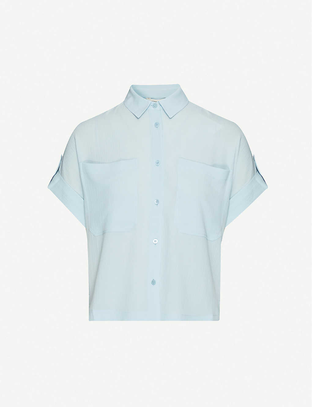 WHISTLES: Short-sleeved loose-fit stretch-crepe shirt