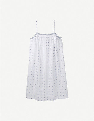 THE WHITE COMPANY: Ruffle-trimmed patterned cotton night dress
