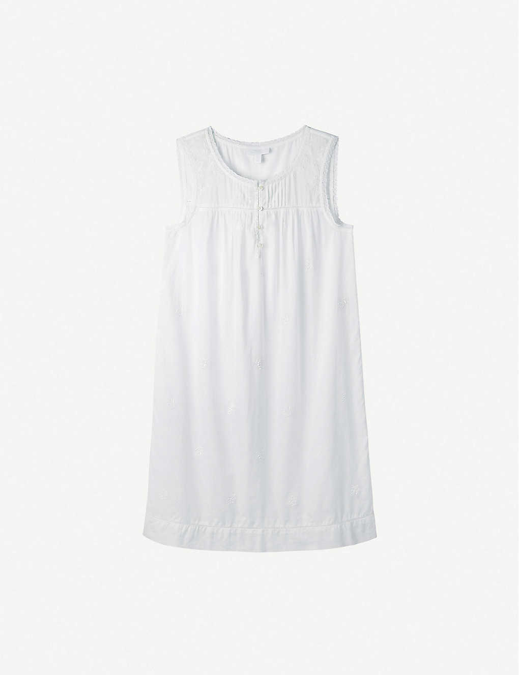 THE WHITE COMPANY: Embroidered pintuck cotton night dress