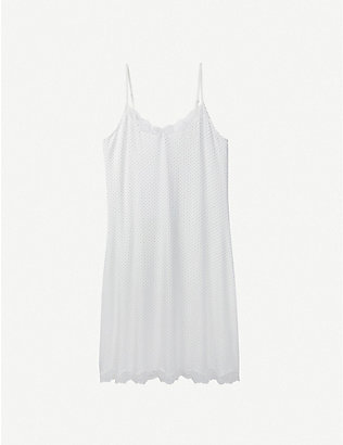 THE WHITE COMPANY: Pin dot-print lace-trimmed woven night dress