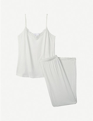 THE WHITE COMPANY: Pin dot-print lace-trimmed woven pyjama set