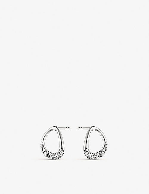 GEORG JENSEN: Offspring sterling-silver and diamond stud earrings