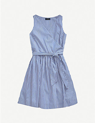 RALPH LAUREN: Striped cotton mini wrap dress 2-16 years