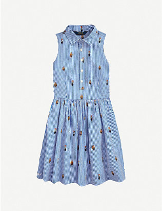 RALPH LAUREN: Polo Bear-embroidered striped cotton mini dress 2-14 years