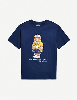 RALPH LAUREN: Bear-print cotton T-shirt 2-14 years