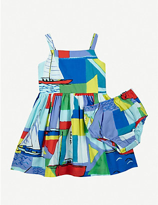 RALPH LAUREN: Nautical printed cotton mini dress and bloomers set 6-24 months