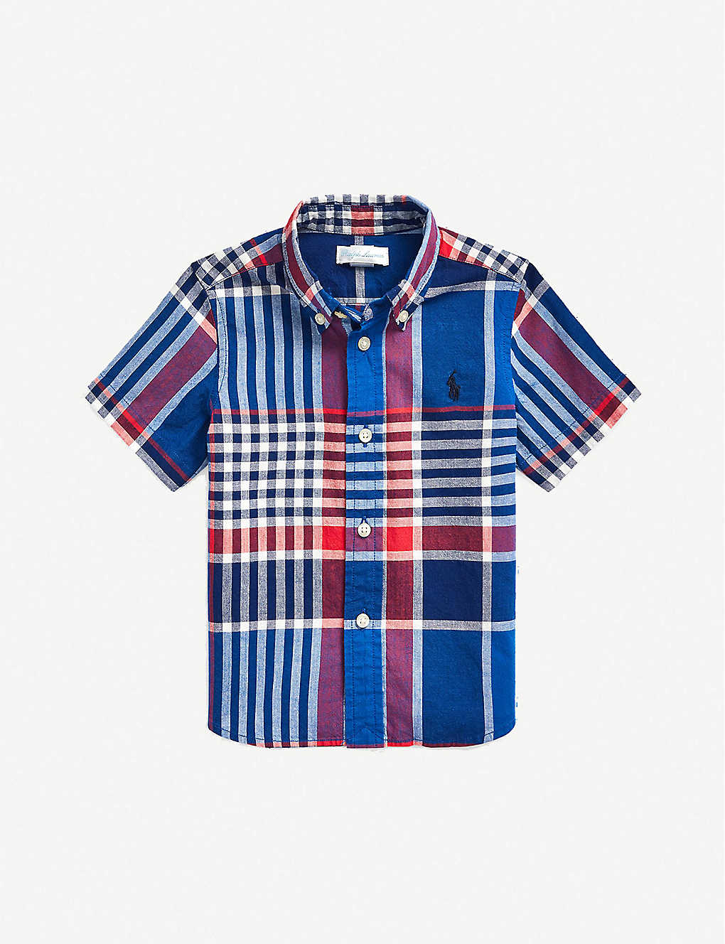RALPH LAUREN: Checked short-sleeved cotton shirt 6-24 months