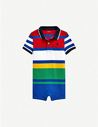 RALPH LAUREN: Striped cotton shortall 3-24 months